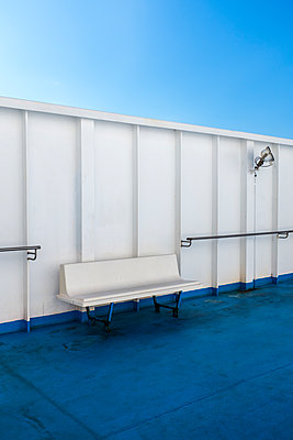 White bench on ship - p280m1111718 by victor s. brigola