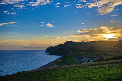 Sunset on Devon Jurassic Coast - p179m1467238 by Roland Schneider