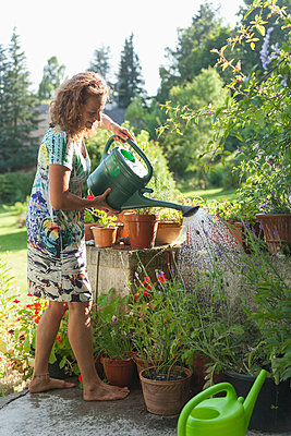 Germany;  Bavaria;  Munich;  Mature woman watering plants - p300m837032f by Tom Chance