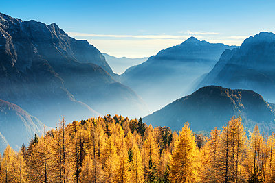 Autumn Mist in Julian Alps, Triglav National Park, Slovenia, Europe - p651m2006850 by Tom Mackie