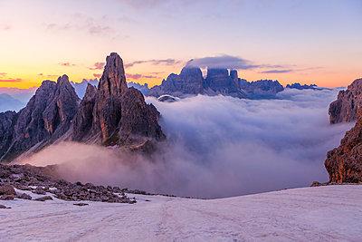 Sea of clouds, Cadini di Misurina, Tre Cime di Lavaredo, Dolomites - p1166m2108270 by Cavan Images