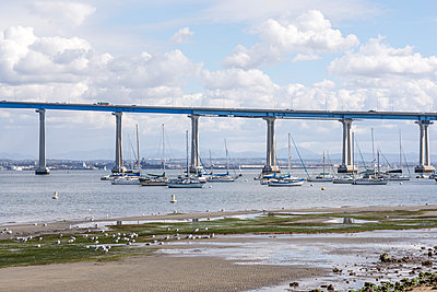 San Diego Harbor and Coronado Bridge - p1436m2073358 by Joseph S. Giacalone