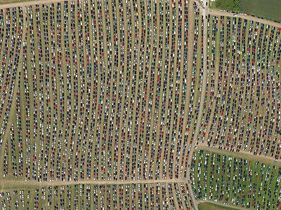 Aerial view of Southside Festival, Neuhausen ob Eck, Baden-Wuerttemberg, Germany - p301m2017651 by Stephan Zirwes