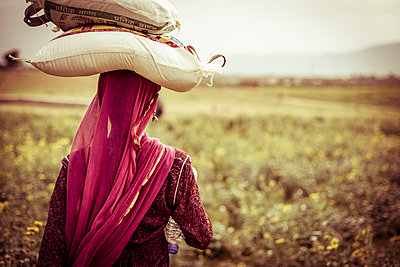 Rear view of woman carrying bags on head at farm - p1166m1226113 by Cavan Images