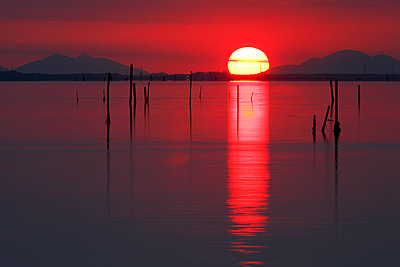 Sunset of the coast of the Isola di Pellestrina, Venice, Veneto, Italy. - p651m2033735 by Peter Fischer