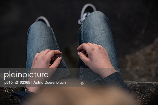 Sitting on the footbridge - p310m2192365 by Astrid Doerenbruch