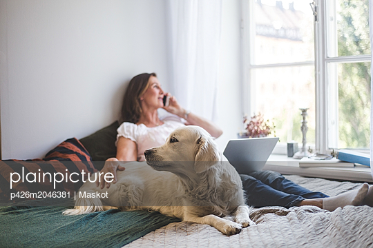 Woman touching dog while talking through mobile phone on bed at home - p426m2046381 by Maskot