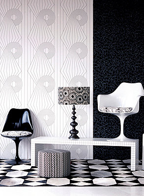 Black and white patterned living room - p349m695181 by Emma Lee