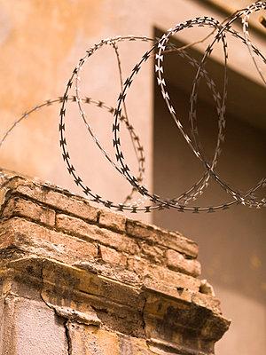 Fencing wire, Katakolon, Greece   - p4427897f by Design Pics