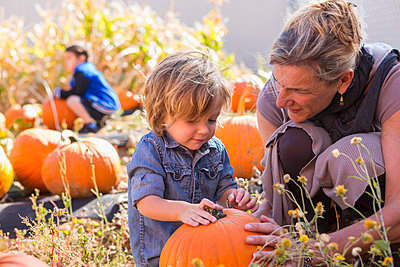 Caucasian mother and son in pumpkin patch - p555m1410483 by Marc Romanelli