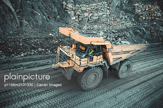 Coal Truck from Aerial View - p1166m2131330 by Cavan Images