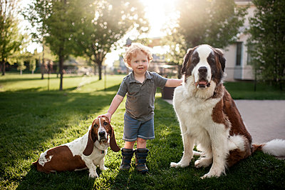 Toddler boy standing grass with 2 dogs in backyard in pretty light - p1166m2137191 by Cavan Images