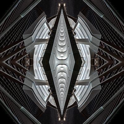 Abstract kaleidoscope pattern Liège-Guillemins station in Liège - p401m2207482 by Frank Baquet
