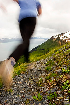 Woman Runs Up Mt Marathon During Race Seward Alaska Kenai Peninsula Summer - p442m2154127 by Doug Demarest