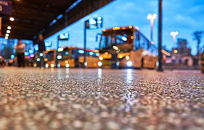 Bus station, surface level view, Montevideo, Uruguay, South America - p429m1519600 by Stephen Lux