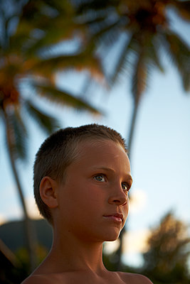 Boy with Palm Trees - p1260m1077988 by Ted Catanzaro