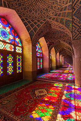 Iran, Central Iran, Shiraz, Nasir-al Molk Mosque, interior - p651m2007318 by Walter Bibikow