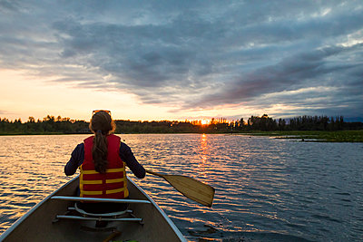 Canoeing on Burnaby Lake, British Columbia. - p1166m2202125 by Christopher Kimmel / Alpine Edge Photography