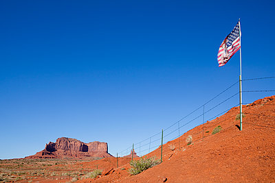 US Flag in the Desert - p1100m2090869 by Mint Images