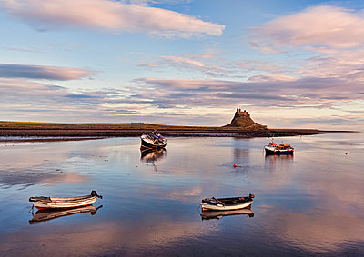 Four fishing boats moored in the harbour with the tide in, Lindisfarne Castle in the background on Holy Island; Lindisfarne, Northumberland, England - p442m2091776 by Margaret Whittaker