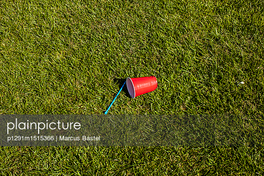 Plastic trash on grass - p1291m1515366 by Marcus Bastel