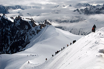 Mountaineers and climbers, Mont Blanc range, French Alps, France, Europe - p871m1073193f by Peter Richardson