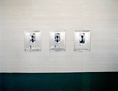 three pay phones on wall - p3880205 by Jim Green