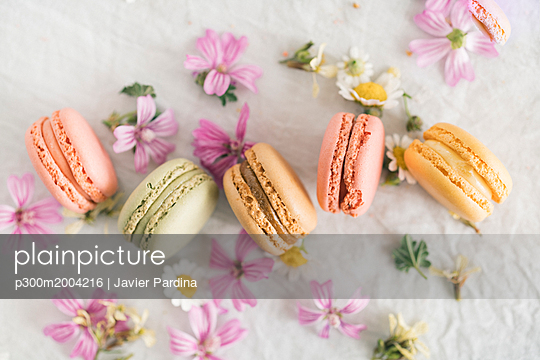 Macarons with blossoms - p300m2004216 von Javier Pardina