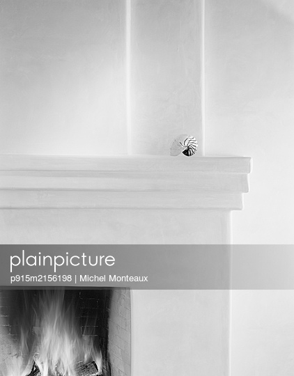 Shell on fireplace mantel - p915m2156198 by Michel Monteaux