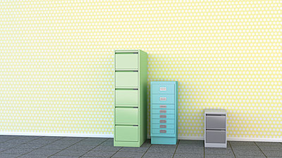 Three different drawer cabinets in front of yellow wallpaper, 3D Rendering - p300m1023018f by HuberStarke
