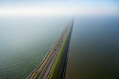 Afsluitdijk, major dam and causeway, Kornwerderzand, Friesland, Netherlands - p429m2165026 by Mischa Keijser