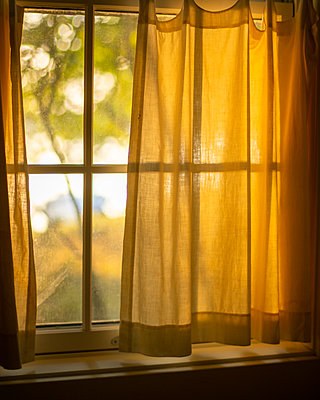 Window with curtain at sunset - p1614m2211835 by James Godman