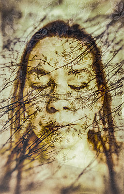 Collaged abstract portrait of woman overlaid with delicate tree branches - p1047m2092609 by Sally Mundy