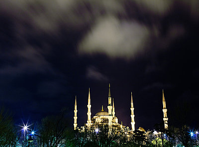 Sultan Ahmed mosque at night - p9241145 by Silvia Otte