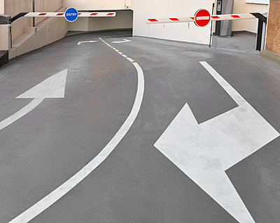 Car park entrance / exit barriers - p1048m1512727 by Mark Wagner