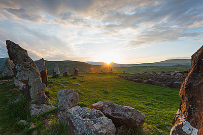 Karahunj Zorats Karer, prehistoric archaeological stonehenge site, Syunik Province, Armenia, Caucasus, Central Asia, Asia - p871m1082184 by Christian Kober