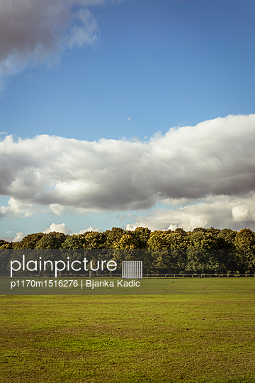 plainpicture | Photo library for authentic images - plainpicture p1170m1516276 - Cricket field and Sight screen - plainpicture/Bjanka Kadic