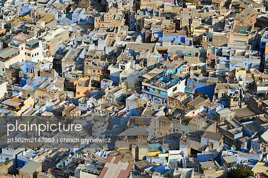 Houses in the Blue City - p1562m2147983 by chinch gryniewicz