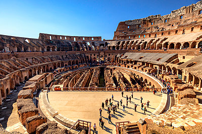 Italy, Rome, Colosseum interiors at sunset - p651m2006153 by Maurizio Rellini