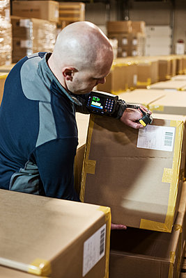 Caucasian male warehouse worker handling using a hand held bar code scanner on products stored in cardboard boxes in a large warehouse distribution centre. - p1100m1575477 by Mint Images