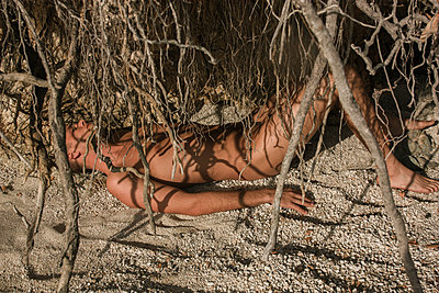Nude Tangled in Tree Roots - p1262m1110486 by Maryanne Gobble