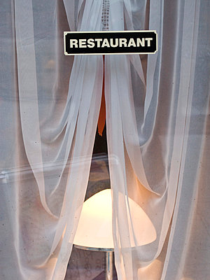 Restaurant sign and curtain - p4902805 by Jan Mammey