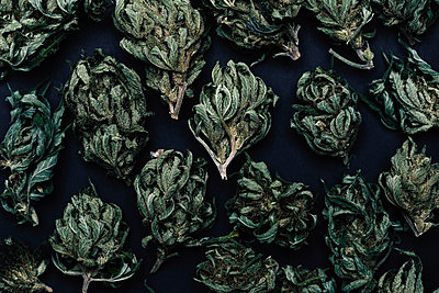 Full frame shot of dried marijuana leaves on table - p301m1579823 by Norman Posselt