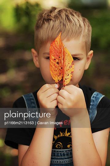 Portrait of a little boy outdoors - p1166m2113163 by Cavan Images