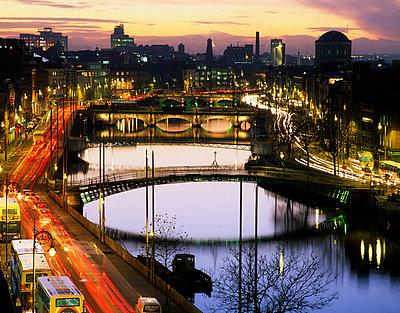 River Liffey, Dublin, County Dublin, Ireland, Four Courts in the distance - p4425394f by Design Pics