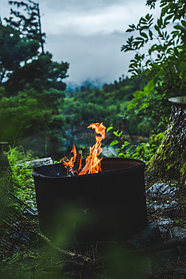 Alaska, Campfire in the forest - p1455m2204751 by Ingmar Wein