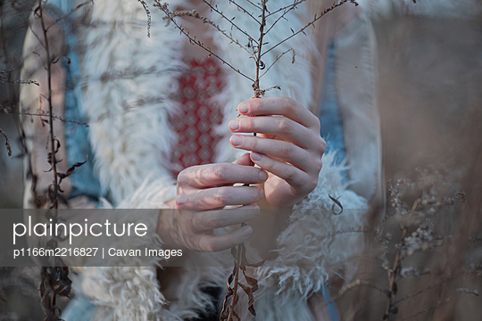 Hands holding dry faded grass stem. Beautiful female hands, autu - p1166m2216827 by Cavan Images