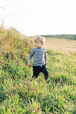 Young boy playing in a field. - p1166m2151875 by Cavan Images