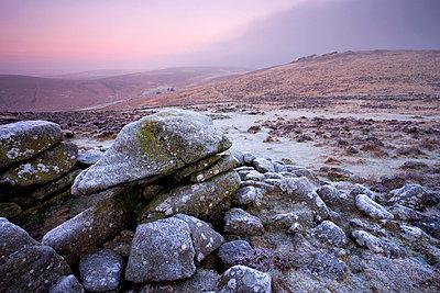Grimspound Bronze Age settlement remains on a frosty winter dawn, Dartmoor National Park, Devon, England, United Kingdom, Europe - p8713095 by Adam Burton