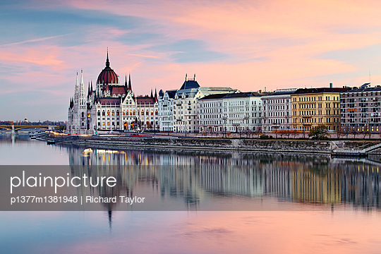The Danube river and the Parliament building - p1377m1381948 by Richard Taylor
